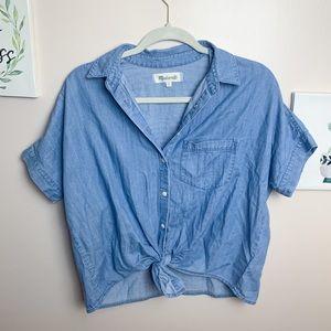 Madewell Oversized Chambray Wrap Bottom Shirt - XS